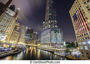 市區, 芝加哥, 夜晚, 伊利諾伊