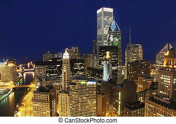 市區, 芝加哥, 夜晚