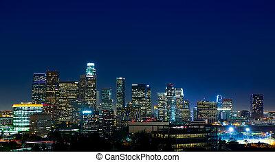 市區, la, angeles, los, 地平線, 傍晚, 夜晚, 加利福尼亞