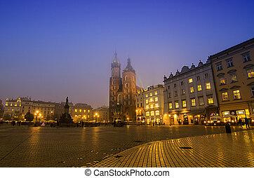 市場廣場, 在, cracow, 夜間