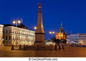 市場廣場, 夜間, 在, 赫爾辛基
