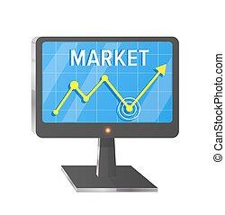 市場, スクリーン, コンピュータ, 白, イラスト