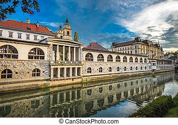 市場, 中央である, 川, スロベニア, ljubljanica, ljubljana