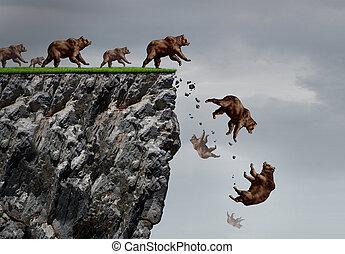 市場, 熊, 危機, 落ちる