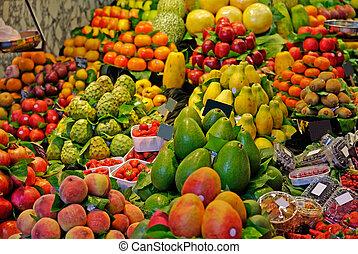 市場, la, boqueria, バルセロナ, 焦点を合わせなさい。, 有名, 精選する, 世界, spain., fruits.