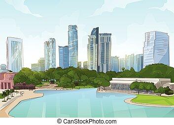 市民会館, 公園, 木, 超高層ビル, 都市の景観, 池, 光景