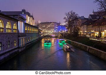 市民会館, 装飾, ljubljana, クリスマス, night.
