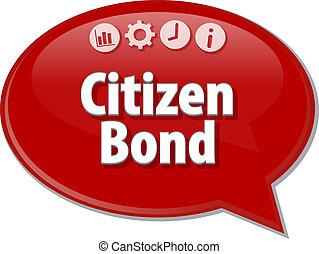 市民, 債券, ビジネス, 用語, スピーチ泡, イラスト