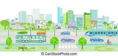 市街電車, 都市, 自動車, バス, シルエット