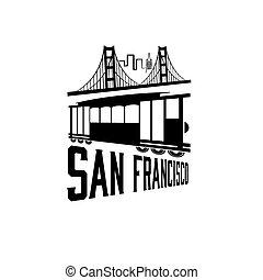市街電車, san, 門, 金, 橋, francisco