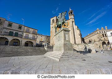 市長, プラザ, 光景, trujillo., スペイン, 広く