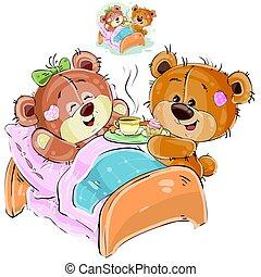 布朗, 他的, 玩具熊, 描述, 带来, 矢量, 床, 女朋友, 早餐托盘, 躺, 爱