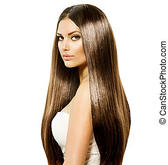 布朗, 婦女, 美麗, 健康, 光滑, 長的頭髮麤毛交織物, 晴朗