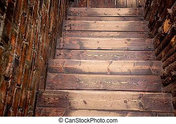 布朗, 木制, 楼梯