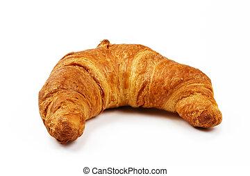 布朗, 白色, 有硬殼, 背景, croissant