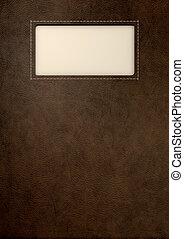 布朗, 皮革, 由于, 鑲嵌, 標簽