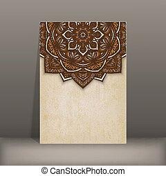 布朗, 老, 圖案, 紙, 植物, 卡片, 圓