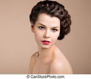 布朗, nostalgia., 称呼, femininity., 浪漫传奇, retro, hair., 女孩, pinup, 编织