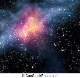 布满星星, 外部, 背景, 深, 空间