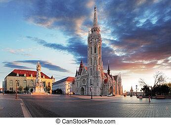 布達佩斯, -, mathias, 教堂, 廣場, 匈牙利