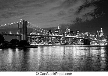 布鲁克林区桥梁, 同时,, 曼哈顿, 纽约