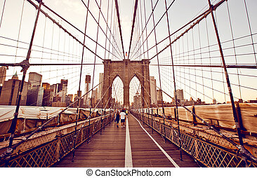 布鲁克林区桥梁, 在中, 纽约