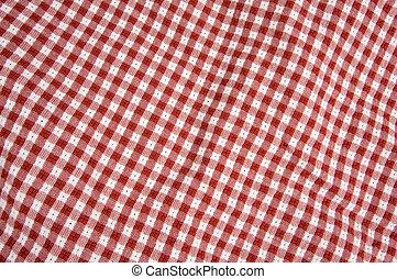 布, ギンガム, 白い赤, &