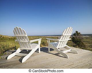 帆布睡椅, 在, 海灘。