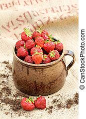 帆布, 充足, 罐, 陶瓷, 草莓, 粘土, 新鲜, 红