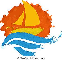 帆船, 上, the, 水