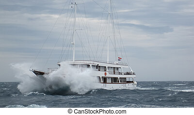 帆船, 中に, ∥, 嵐