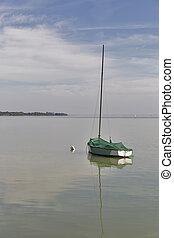 帆船, 停泊, 上, 湖, balaton, hungary.