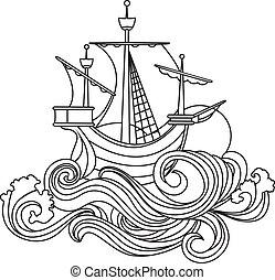 帆船, 在, 藝術 nouveau, 風格