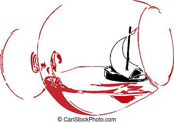 帆船, 在, a, 玻璃