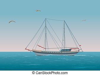 帆船, 在, the, 海, 以及, 鳥