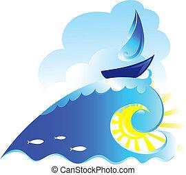 帆船, 波, らせん状に動きなさい