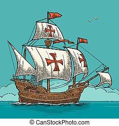 帆船, 浮動, 上, the, 海, waves., caravel, 聖誕老人, maria.