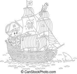 帆船, 海, 海盗, 很少, 玩, 男孩