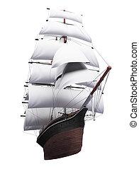 帆船, 被隔离, 在上方, 白色