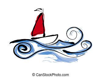 帆走しているボート, イラスト