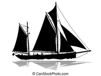 帆走しているボート, シルエット