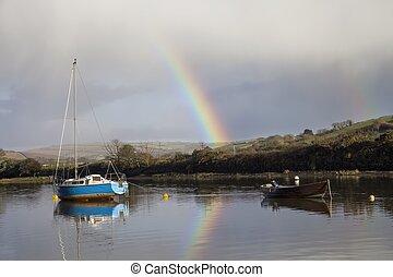 帆走しているボート, 上に, ∥, エイボン川, ∥において∥, averton, gifford