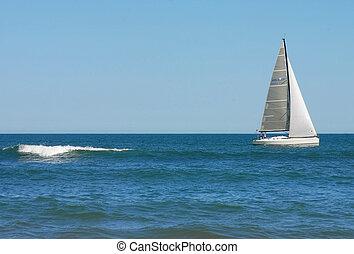 帆走しているボート, 下に, a, ゆとり, day.