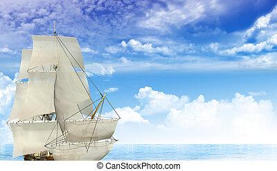 帆走しているボート, 海洋