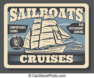 帆, 旅行, ベクトル, 巡航客船, 海洋