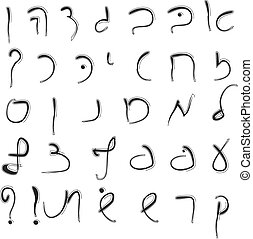 希伯來人, alphabet., 大寫, font., 手, drawing.