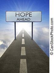 希望, 前方に, 道 印
