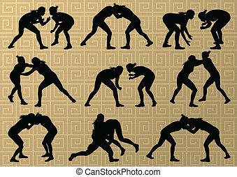 希腊人, 罗马人, 摔跤, 活跃, 年轻妇女, 运动, 侧面影象, 矢量, 摘要, 背景, 描述