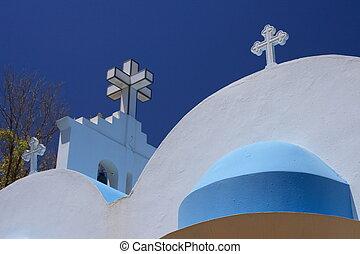 希腊的教堂, 在下面, 藍色的天空, 在, 夏天