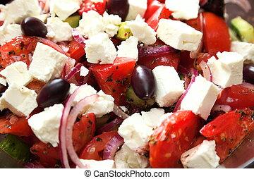 希腊的色拉, 新鲜的蔬菜, 色拉